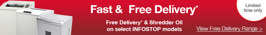 Free delivery and shredder oil on select paper shredder model's