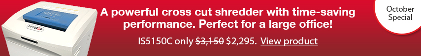 Large, Infostop paper shredder, IS5150C on sale now.